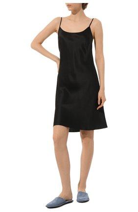 Женская шелковая сорочка LUNA DI SETA черного цвета, арт. VLST08015 | Фото 2