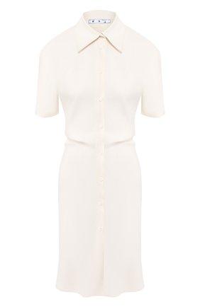 Женское платье из смеси льна и вискозы OFF-WHITE кремвого цвета, арт. 0WDB236S20FAB0020100 | Фото 1