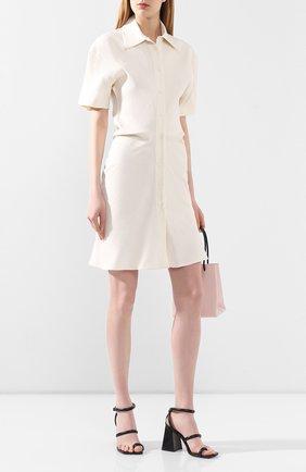 Женское платье из смеси льна и вискозы OFF-WHITE кремвого цвета, арт. 0WDB236S20FAB0020100 | Фото 2