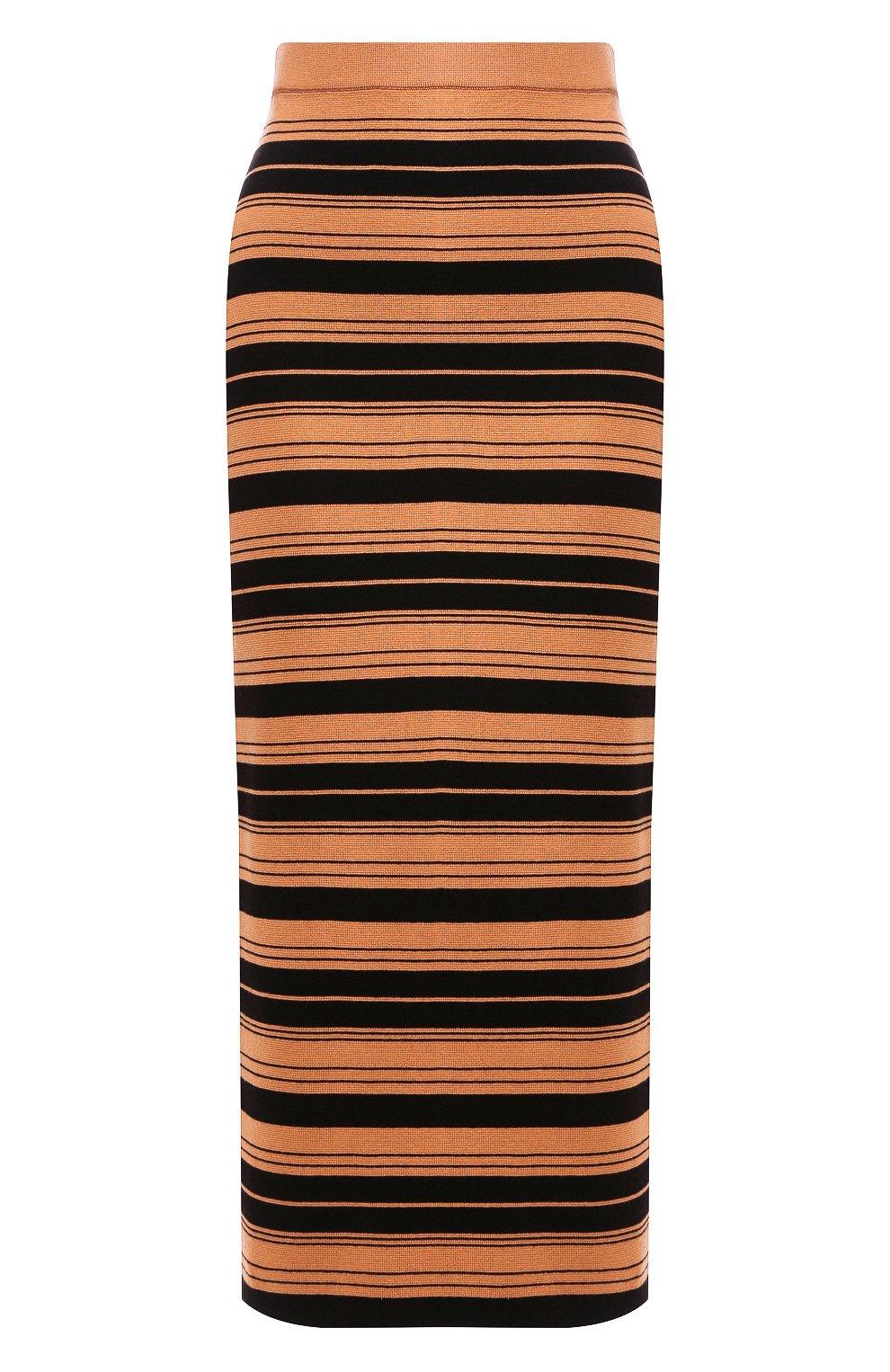 Женская юбка из смеси шелка и хлопка PROENZA SCHOULER WHITE LABEL черного цвета, арт. WL2027392-KS047   Фото 1 (Материал внешний: Шелк, Хлопок; Женское Кросс-КТ: Юбка-карандаш, Юбка-одежда; Длина Ж (юбки, платья, шорты): Миди)