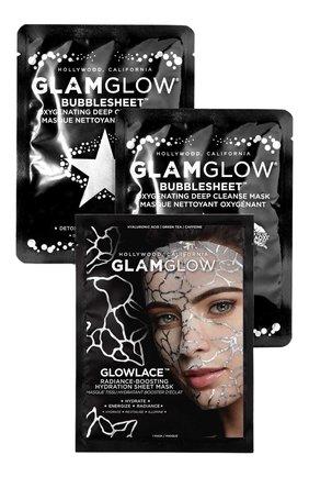 Мужского набор косметический selfie-approved: cleanse + glow sheet mask trio GLAMGLOW бесцветного цвета, арт. 889809009380 | Фото 1