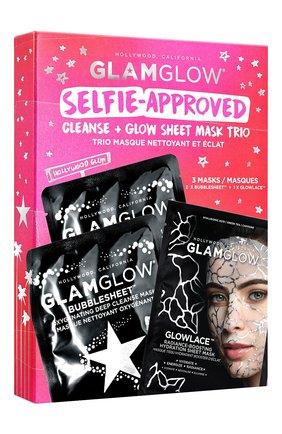 Мужского набор косметический selfie-approved: cleanse + glow sheet mask trio GLAMGLOW бесцветного цвета, арт. 889809009380 | Фото 2