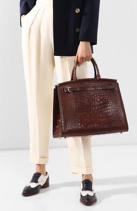 Женская сумка rl 50 из кожи аллигатора RALPH LAUREN коричневого цвета, арт. 415814808/AMIS | Фото 2