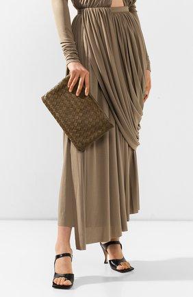 Женские кожаный футляр для документов BOTTEGA VENETA хаки цвета, арт. 608232/VCPP2 | Фото 2
