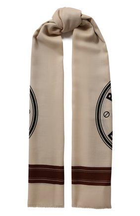 Мужские кашемировый шарф BURBERRY белого цвета, арт. 8029389 | Фото 1