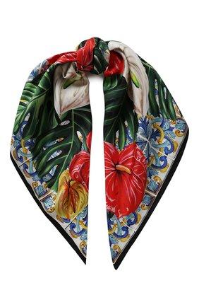 Женский шелковый платок DOLCE & GABBANA красного цвета, арт. FN090R/GDU70 | Фото 1