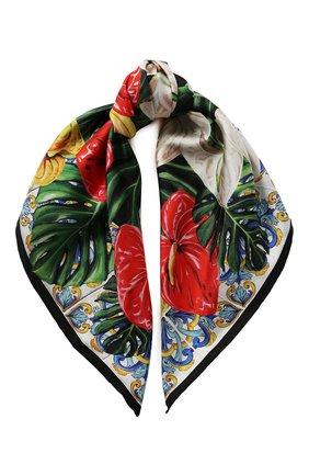 Женский шелковый платок DOLCE & GABBANA красного цвета, арт. FN092R/GDU71 | Фото 1