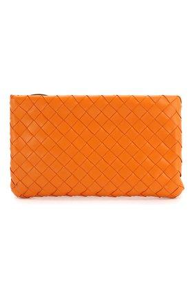 Женские кожаный футляр для документов BOTTEGA VENETA оранжевого цвета, арт. 608230/VCPP2 | Фото 1