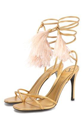 Женские кожаные босоножки valentino garavani rockstud flair VALENTINO золотого цвета, арт. TW0S0X92/LDJ | Фото 1