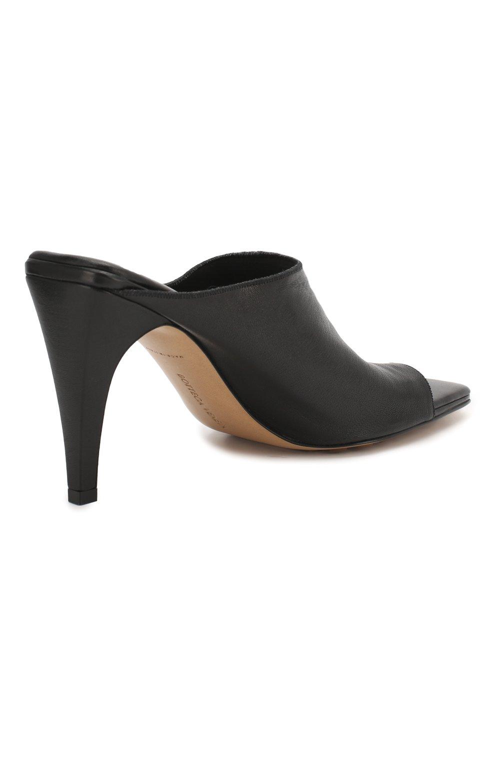 Женские кожаные мюли BOTTEGA VENETA черного цвета, арт. 618760/VBS00 | Фото 4