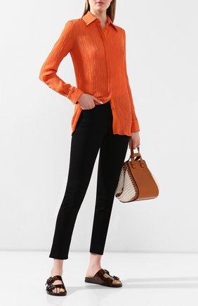 Женские кожаные шлепанцы GIORGIO ARMANI коричневого цвета, арт. X1P984/XF461   Фото 2
