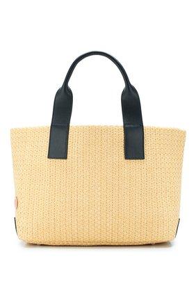 Женская сумка-шопер BONFANTI бежевого цвета, арт. 312201/NATURALE+BLUE NAVY | Фото 1