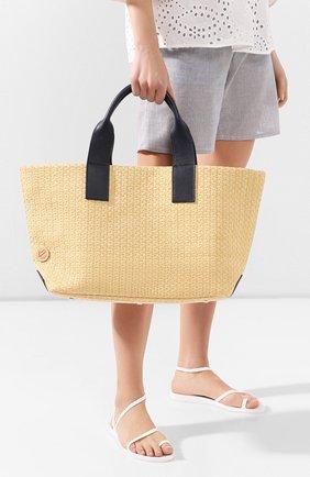 Женская сумка-шопер BONFANTI бежевого цвета, арт. 312201/NATURALE+BLUE NAVY | Фото 2