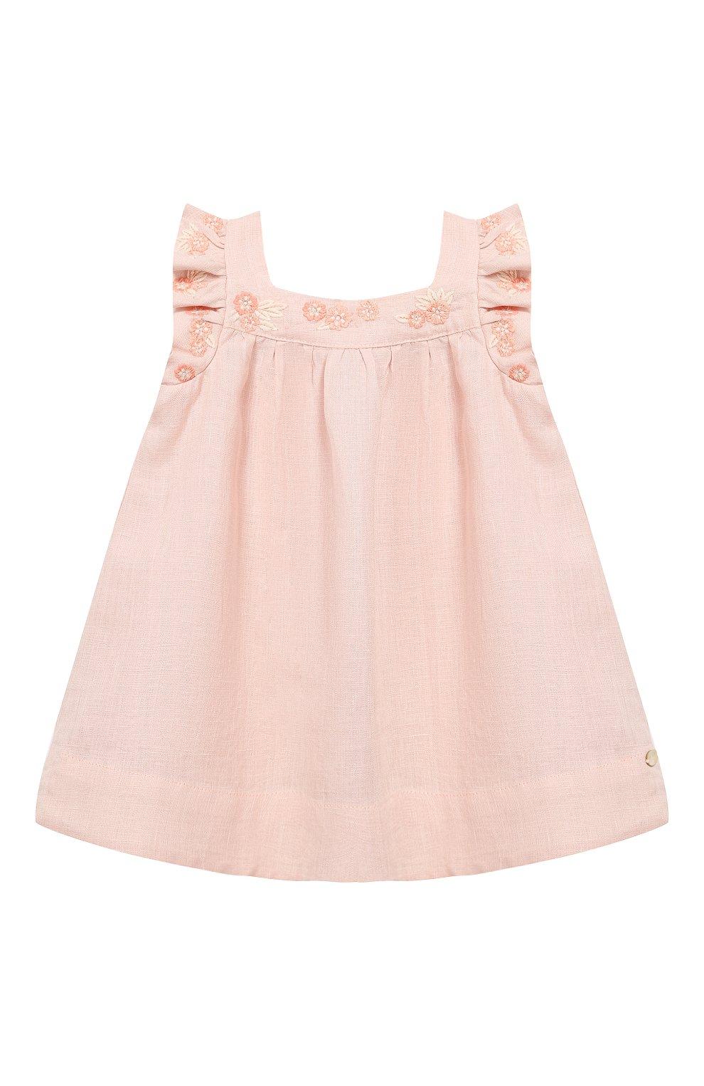 Женский льняное платье TARTINE ET CHOCOLAT светло-розового цвета, арт. TQ30001/1M-1A   Фото 1