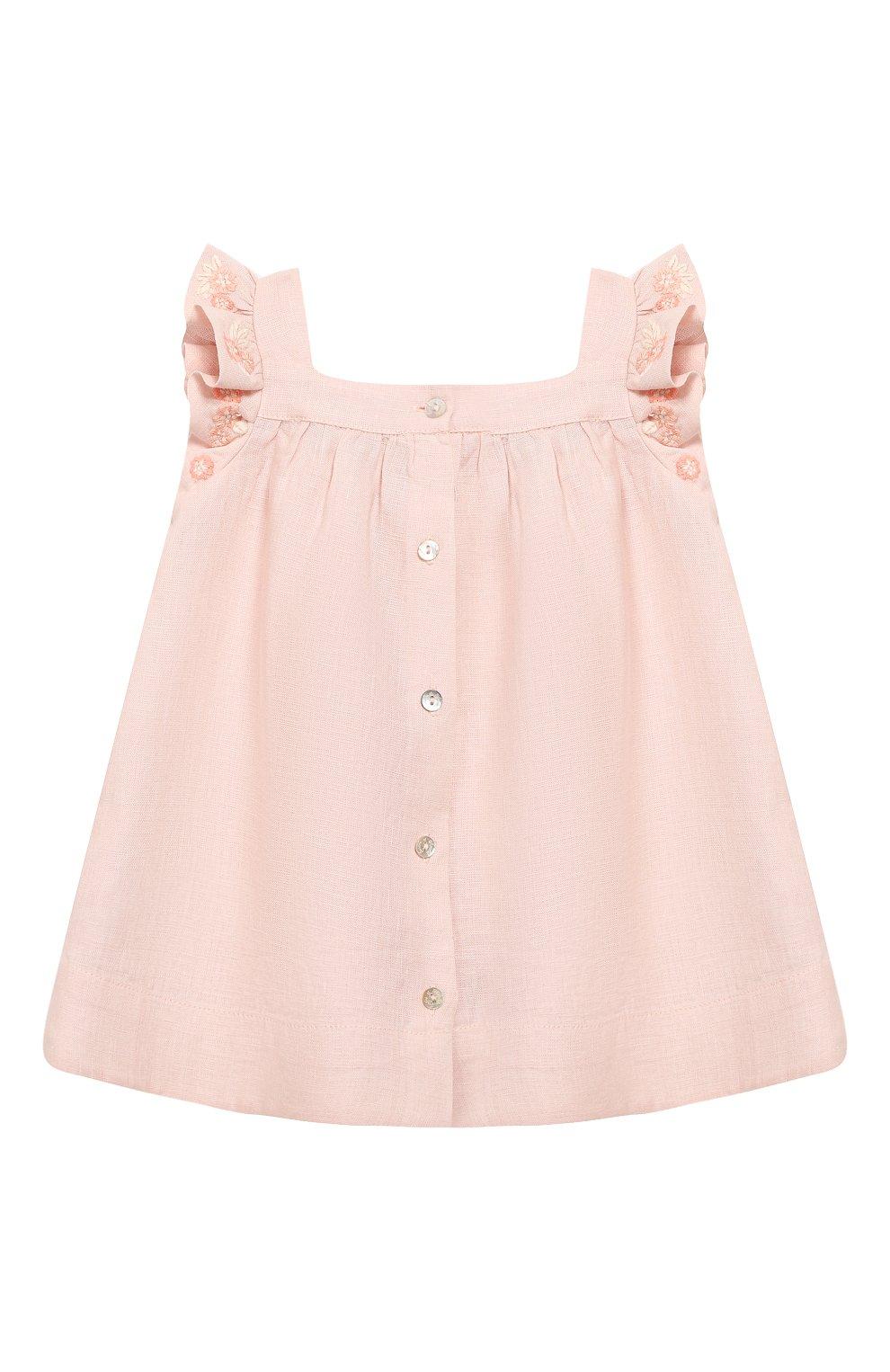 Женский льняное платье TARTINE ET CHOCOLAT светло-розового цвета, арт. TQ30001/1M-1A   Фото 2