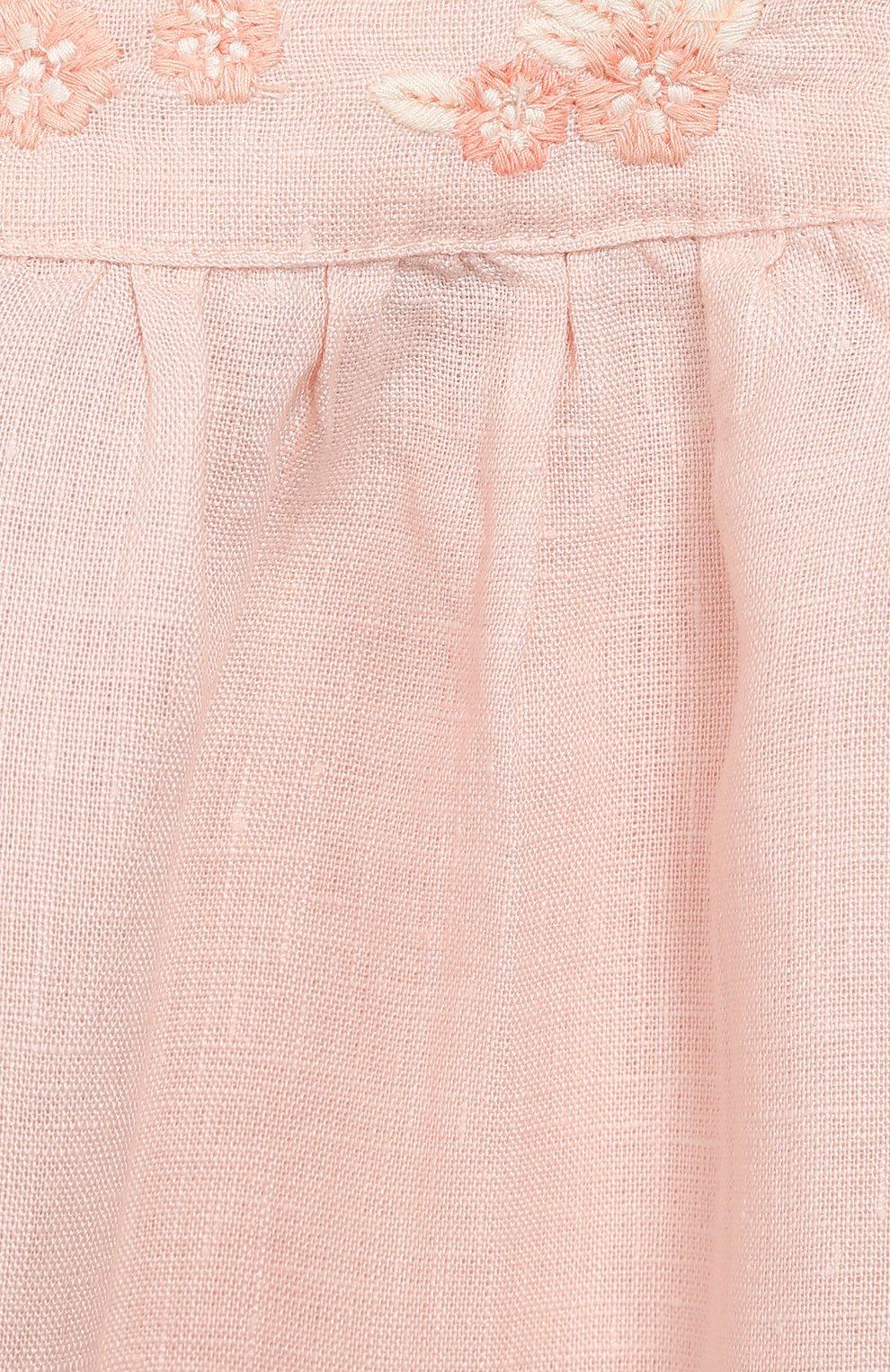 Женский льняное платье TARTINE ET CHOCOLAT светло-розового цвета, арт. TQ30001/1M-1A   Фото 3