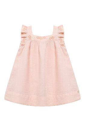 Женский льняное платье TARTINE ET CHOCOLAT светло-розового цвета, арт. TQ30001/4A-5A   Фото 1 (Рукава: Короткие; Материал внешний: Лен)