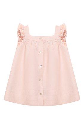 Женский льняное платье TARTINE ET CHOCOLAT светло-розового цвета, арт. TQ30001/4A-5A   Фото 2 (Рукава: Короткие; Материал внешний: Лен)
