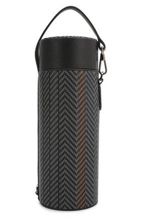 Мужской кожаный футляр для бутылки ERMENEGILDO ZEGNA темно-серого цвета, арт. E1423P-PSL | Фото 1