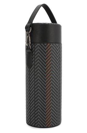 Мужской кожаный футляр для бутылки ERMENEGILDO ZEGNA темно-серого цвета, арт. E1423P-PSL | Фото 2