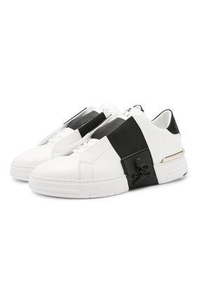 Мужские кожаные кеды phantom kick$ PHILIPP PLEIN белого цвета, арт. P20S MSC2653 PCO008N | Фото 1