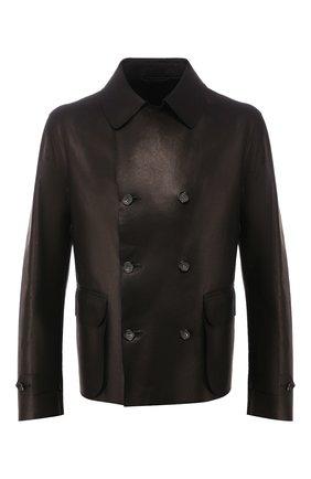 Мужская кожаная куртка GIORGIO ARMANI черного цвета, арт. 5SR13P/5SP18   Фото 1