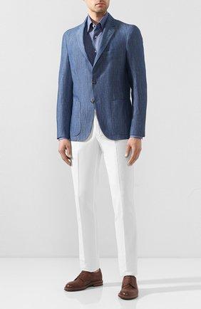 Мужская льняная рубашка ZILLI синего цвета, арт. MFT-MERCU-13091/RZ01 | Фото 2