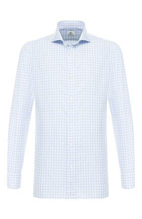 Мужская рубашка из смеси хлопка и льна LUIGI BORRELLI голубого цвета, арт. EV08/FELICE/TS9115 | Фото 1