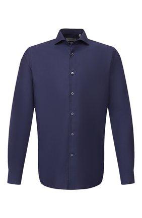 Мужская хлопковая сорочка CORNELIANI темно-синего цвета, арт. 85P002-0111408/00 | Фото 1 (Материал внешний: Хлопок; Рукава: Длинные; Длина (для топов): Стандартные; Случай: Формальный)