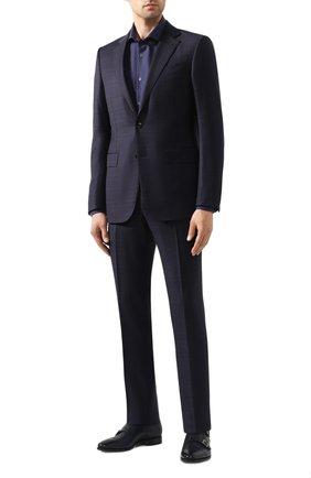 Мужская хлопковая сорочка CORNELIANI темно-синего цвета, арт. 85P002-0111408/00 | Фото 2 (Материал внешний: Хлопок; Рукава: Длинные; Длина (для топов): Стандартные; Случай: Формальный)