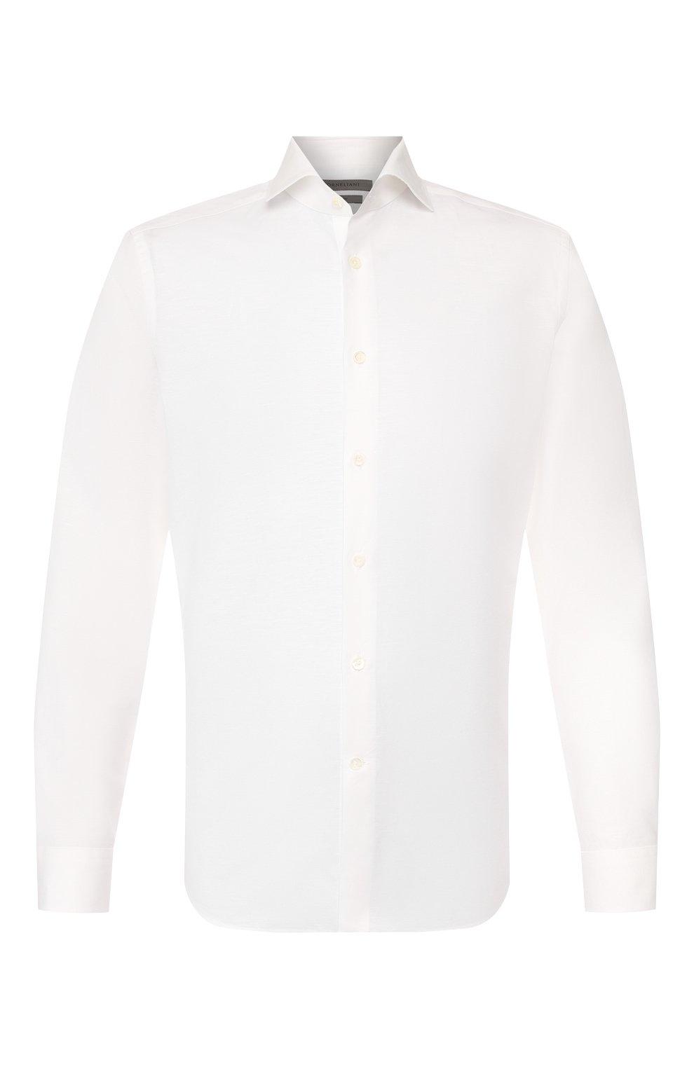 Мужская сорочка из хлопка и льна CORNELIANI белого цвета, арт. 85P002-0111616/00 | Фото 1