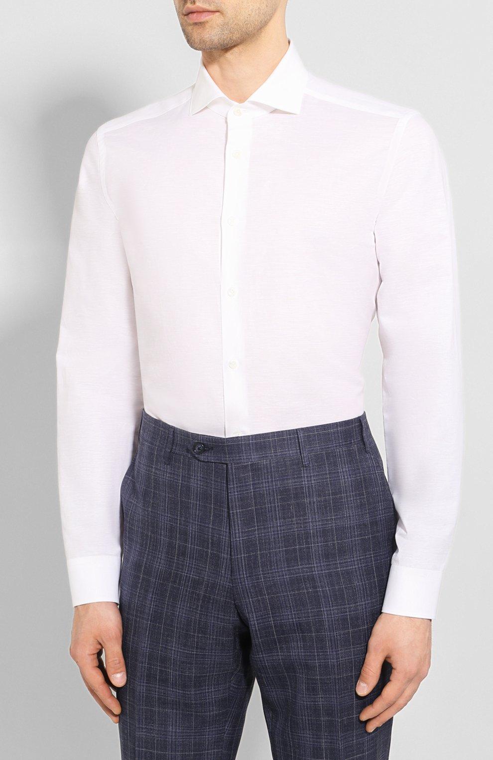 Мужская сорочка из хлопка и льна CORNELIANI белого цвета, арт. 85P002-0111616/00 | Фото 3