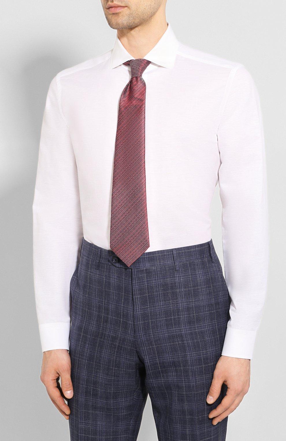 Мужская сорочка из хлопка и льна CORNELIANI белого цвета, арт. 85P002-0111616/00 | Фото 4