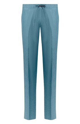 Мужской льняные брюки LORO PIANA бирюзового цвета, арт. FAI6395 | Фото 1