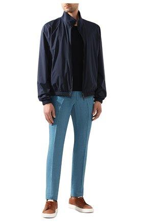Мужской льняные брюки LORO PIANA бирюзового цвета, арт. FAI6395 | Фото 2