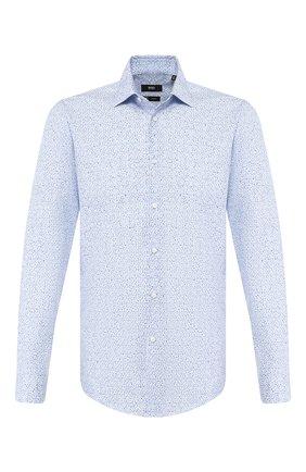 Мужская хлопковая сорочка BOSS синего цвета, арт. 50428314 | Фото 1