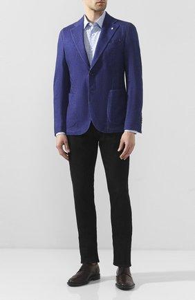 Мужская хлопковая сорочка BOSS синего цвета, арт. 50428314 | Фото 2