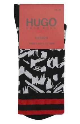 Мужские хлопковые носки HUGO черного цвета, арт. 50433375   Фото 1