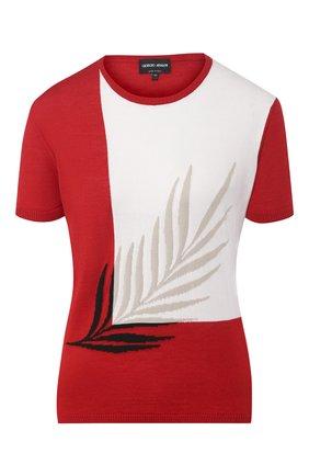 Женский пуловер из смеси шелка и шерсти GIORGIO ARMANI красного цвета, арт. 3HAM08/AM28Z | Фото 1