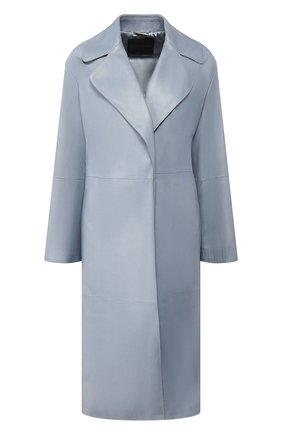 Женское кожаное пальто GIORGIO ARMANI голубого цвета, арт. 5AL08P/5AP19 | Фото 1