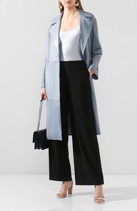 Женское кожаное пальто GIORGIO ARMANI голубого цвета, арт. 5AL08P/5AP19 | Фото 2