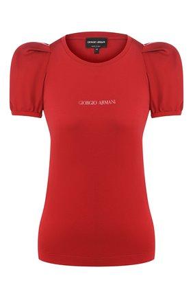Женская хлопковая футболка GIORGIO ARMANI красного цвета, арт. 3HAM52/AJJZZ | Фото 1