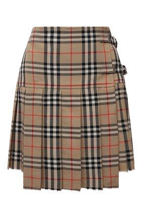 Женская шерстяная юбка BURBERRY бежевого цвета, арт. 8025832 | Фото 1