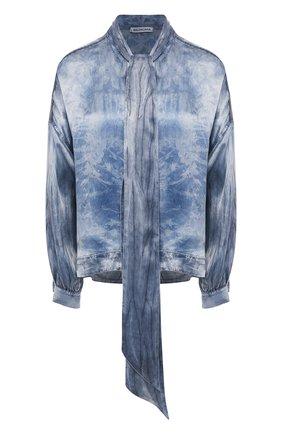 Женская рубашка BALENCIAGA синего цвета, арт. 595072/TGN15 | Фото 1