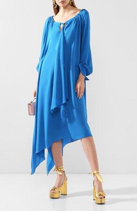 Женское шелковое платье ROLAND MOURET синего цвета, арт. SS20/S0900/F5073   Фото 2