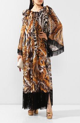 Женское шелковое платье DOLCE & GABBANA коричневого цвета, арт. F6I1LT/FI1T8 | Фото 2
