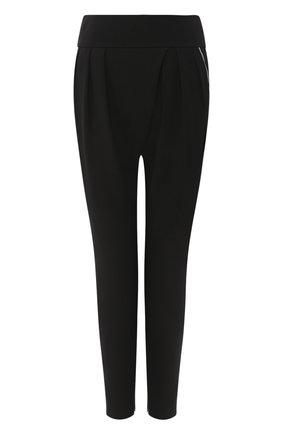 Женские шелковые брюки GIORGIO ARMANI черного цвета, арт. 0SHPP0BY/T01TY   Фото 1 (Материал внешний: Шелк; Женское Кросс-КТ: Брюки-одежда; Силуэт Ж (брюки и джинсы): Узкие; Длина (брюки, джинсы): Укороченные)