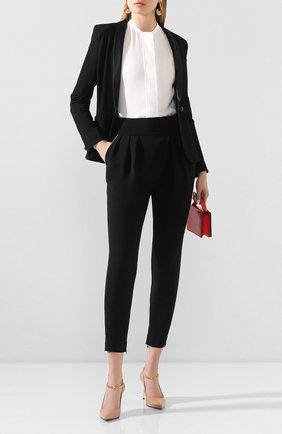 Женские шелковые брюки GIORGIO ARMANI черного цвета, арт. 0SHPP0BY/T01TY   Фото 2 (Материал внешний: Шелк; Женское Кросс-КТ: Брюки-одежда; Силуэт Ж (брюки и джинсы): Узкие; Длина (брюки, джинсы): Укороченные)
