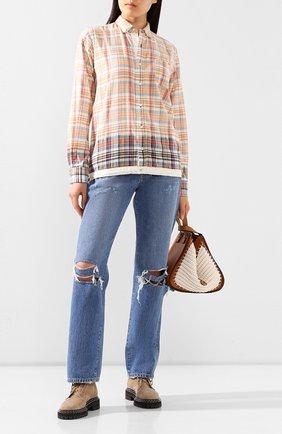 Женская хлопковая рубашка SACAI бежевого цвета, арт. 20-02278M | Фото 2
