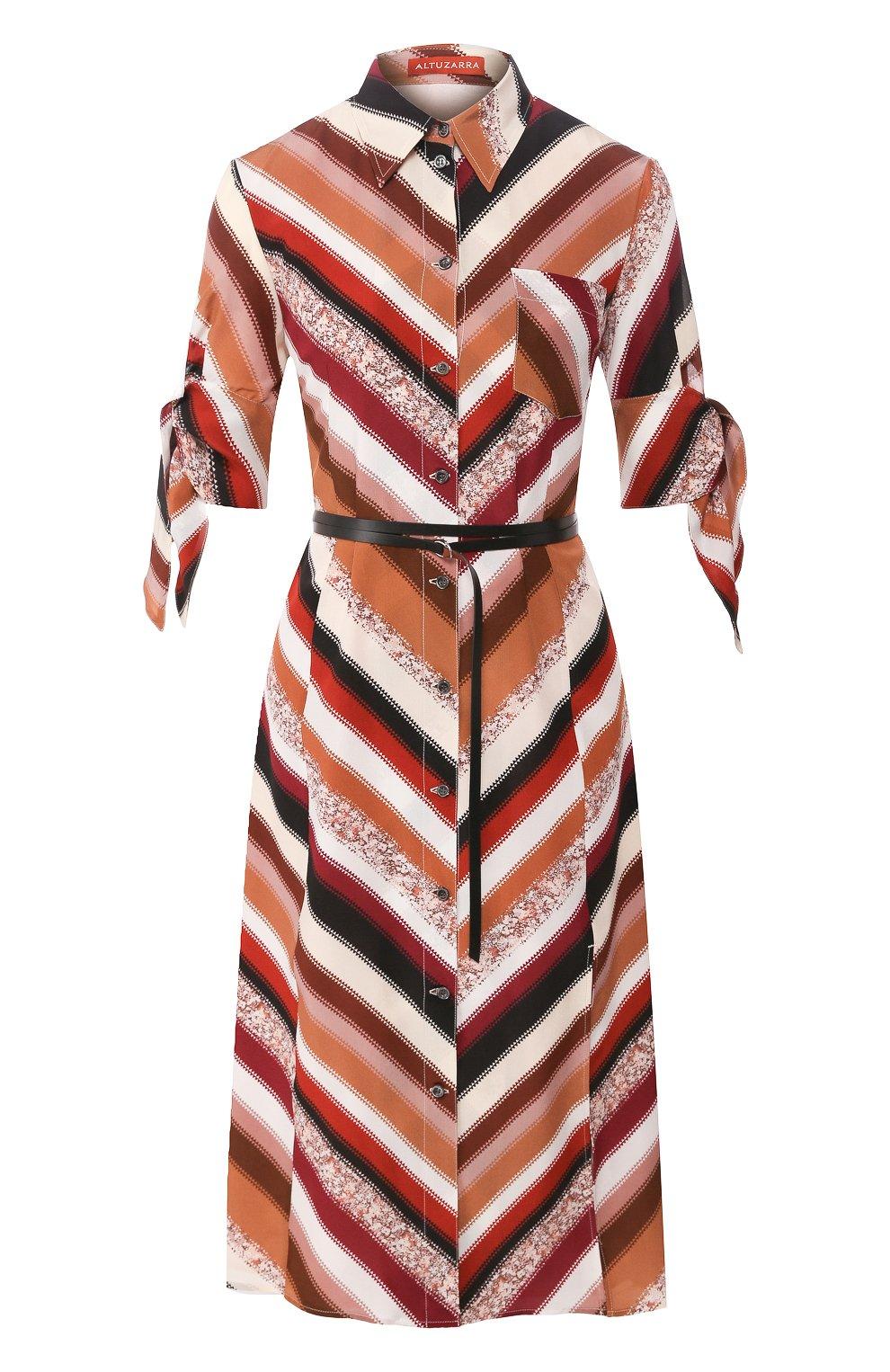 Женское шелковое платье ALTUZARRA коричневого цвета, арт. 120-3033-BSP001   Фото 1 (Материал внешний: Шелк; Случай: Повседневный; Длина Ж (юбки, платья, шорты): Миди; Материал подклада: Синтетический материал; Рукава: 3/4; Женское Кросс-КТ: Платье-одежда)